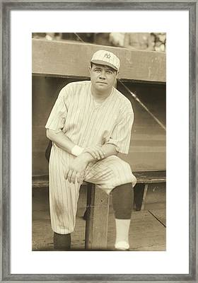 Babe Ruth Posing Framed Print by Padre Art
