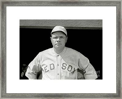 Babe Ruth Red Sox Framed Print by Jon Neidert