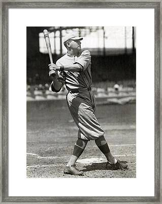 Babe Ruth Swings C. 1916 Framed Print by Daniel Hagerman