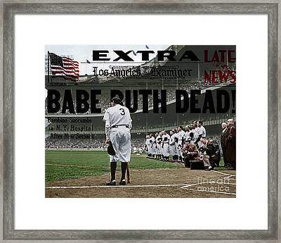 Babe Ruth The Sultan Of Swat Retires At Yankee Stadium And Newspaper Colorized 20170625 Framed Print by Wingsdomain Art and Photography