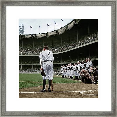 Babe Ruth The Sultan Of Swat Retires At Yankee Stadium Colorized 20170622 Square Framed Print