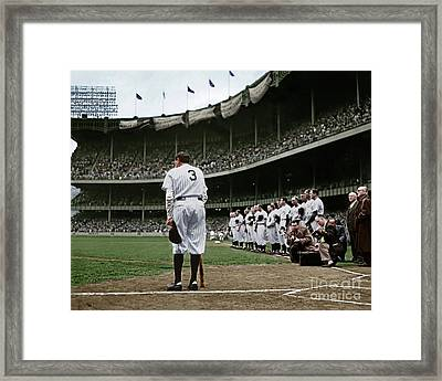 Babe Ruth The Sultan Of Swat Retires At Yankee Stadium Colorized 20170622 Framed Print
