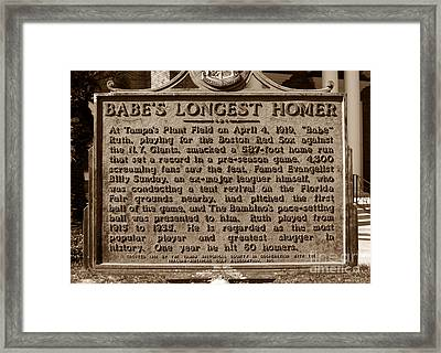 Babes Longest Homer Framed Print by David Lee Thompson