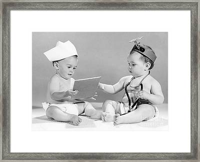 Babies Playing Doctor, C.1960s Framed Print
