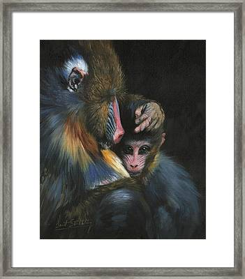 Framed Print featuring the painting Baboon Mother And Baby by David Stribbling
