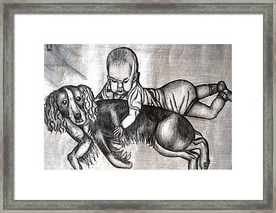 Baby And Dog Framed Print by Angela Murray
