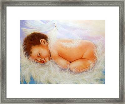 Baby Angel Feathers Framed Print by Joni McPherson