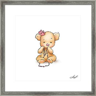 Baby Bear With Beads Framed Print