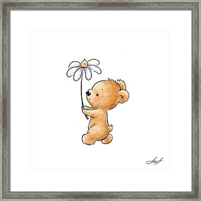 Baby Bear With Flower Framed Print