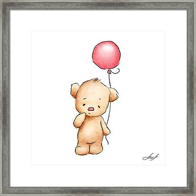 Teddy Bear With Red Balloon Framed Print by Anna Abramska