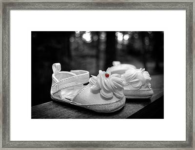 Baby Bootie Bug - Red Framed Print