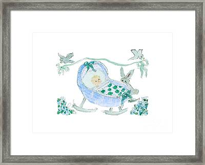 Framed Print featuring the painting Baby Boy With Bunny And Birds by Claire Bull