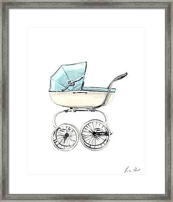 Baby Carriage In Blue - Vintage Pram English Framed Print