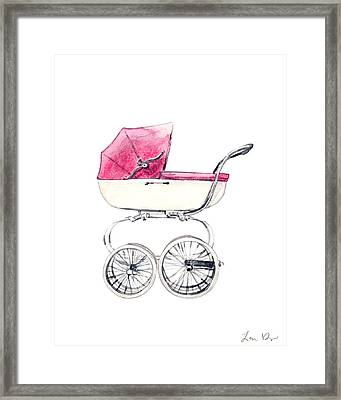 Baby Carriage In Pink - Vintage Pram English Framed Print