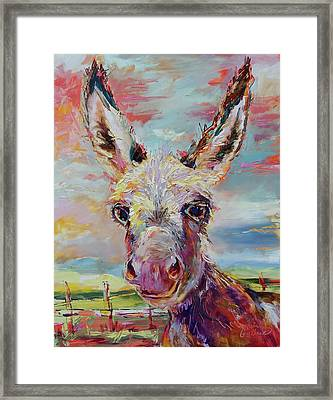 Baby Donkey Painting By Kim Guthrie Art Framed Print