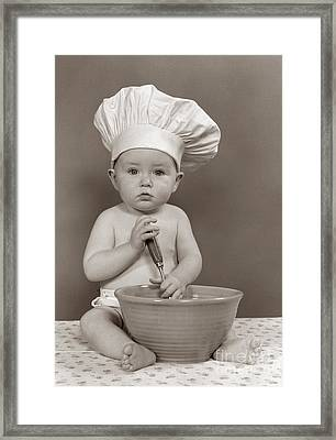 Baby Dressed As Chef, C.1940-50s Framed Print