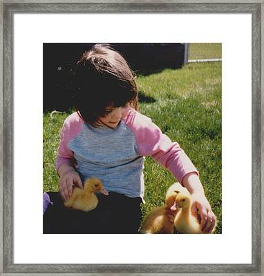 Baby Duck Love Framed Print