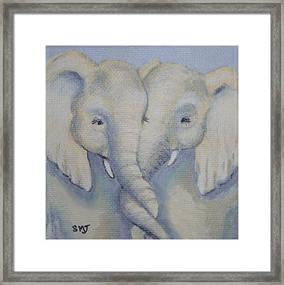 Baby Elephant Friends Framed Print