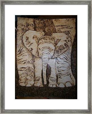 Baby Elephant Pyrographics On Paper Original By Pigatopia Framed Print by Shannon Ivins