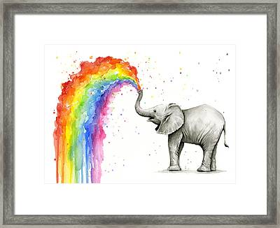 Baby Elephant Spraying Rainbow Framed Print by Olga Shvartsur