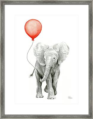 Baby Elephant Watercolor Red Balloon Framed Print