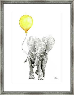 Baby Elephant Watercolor With Yellow Balloon Framed Print by Olga Shvartsur