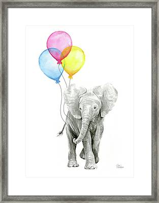 Baby Elephant With Baloons Framed Print