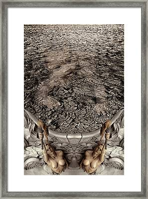 Baby Emerging From The Abyss Of Infinity Guided By The Goddesses Of Motherhood Framed Print