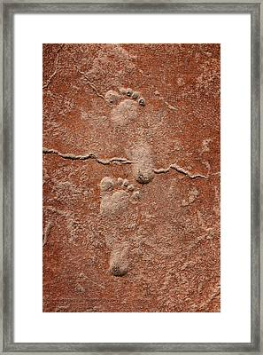 Baby Footsteps Etched In Stone Framed Print by Tracie Kaska