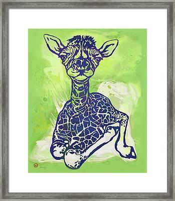 Baby Giraffe  -  Stylised Pop Art Poster Framed Print