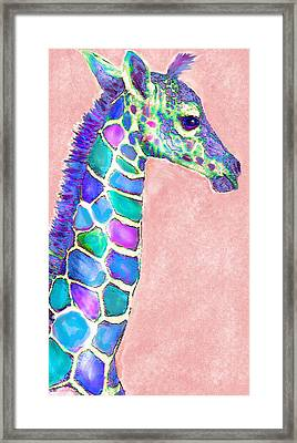 Baby Giraffe Pink And Purple Framed Print