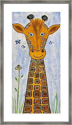 Baby Giraffe Framed Print by Suzanne Theis