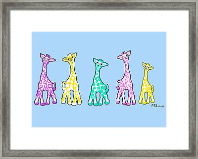 Baby Giraffes In A Row Pastels Framed Print