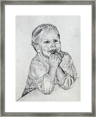 Baby Girl At Table Framed Print by Sheri Buchheit