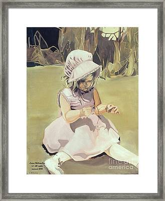 Baby Girl Discovering Framed Print