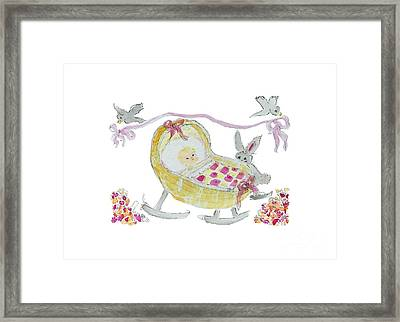 Framed Print featuring the painting Baby Girl With Bunny And Birds by Claire Bull