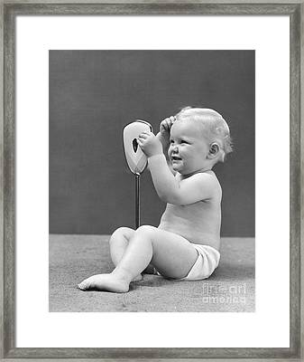 Baby Girl With Hand Mirror, 1940s Framed Print