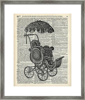 Baby Pram Over A Vintage Dictionary Page Framed Print