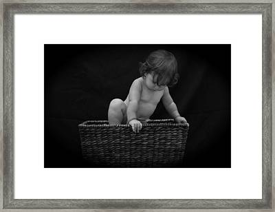 Framed Print featuring the photograph Baby In A Basket by Michael Albright