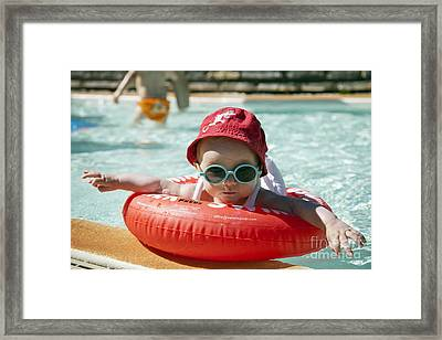 Baby In Pool Framed Print by Jean-Fran�ois Humbert
