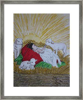 Framed Print featuring the painting Baby Jesus At Birth by Kathy Marrs Chandler