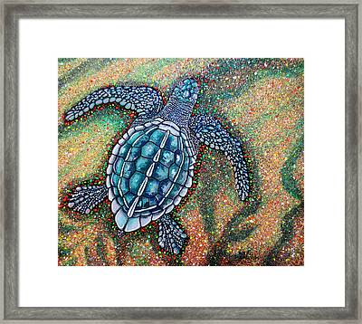 Framed Print featuring the painting Baby Leatherback Sea Turtle by Debbie Chamberlin