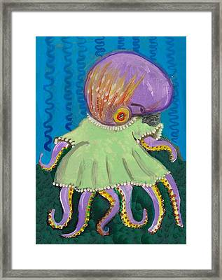 Baby Octopus In A Dress Framed Print