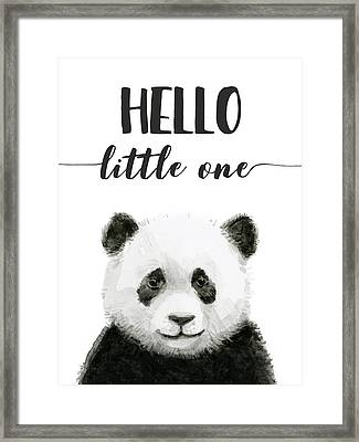Baby Panda Hello Little One Nursery Decor Framed Print