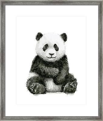 Baby Panda Watercolor Framed Print