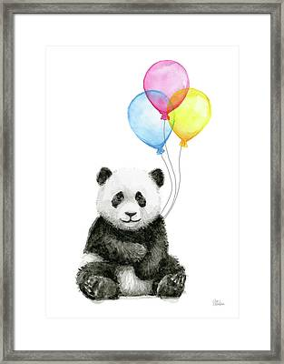 Baby Panda Watercolor With Balloons Framed Print