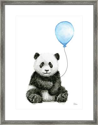 Baby Panda With Blue Balloon Watercolor Framed Print by Olga Shvartsur