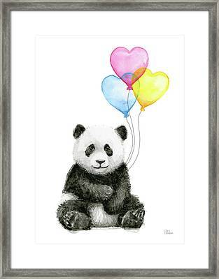 Baby Panda With Heart-shaped Balloons Framed Print