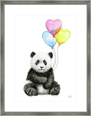 Baby Panda With Heart-shaped Balloons Framed Print