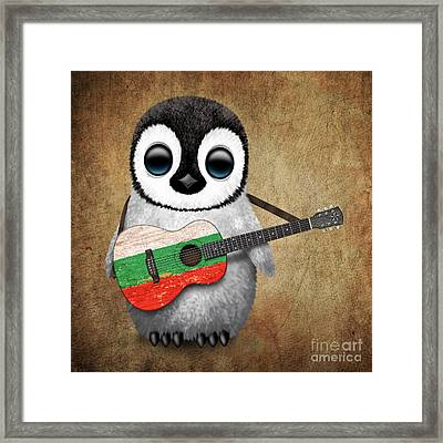 Baby Penguin Playing Bulgarian Flag Guitar Framed Print by Jeff Bartels